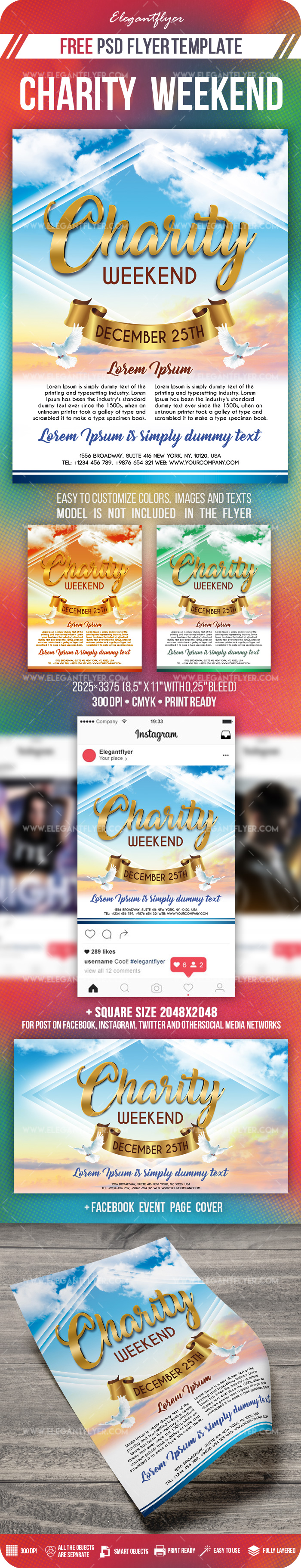 Charity Weekend – Free Flyer PSD Template