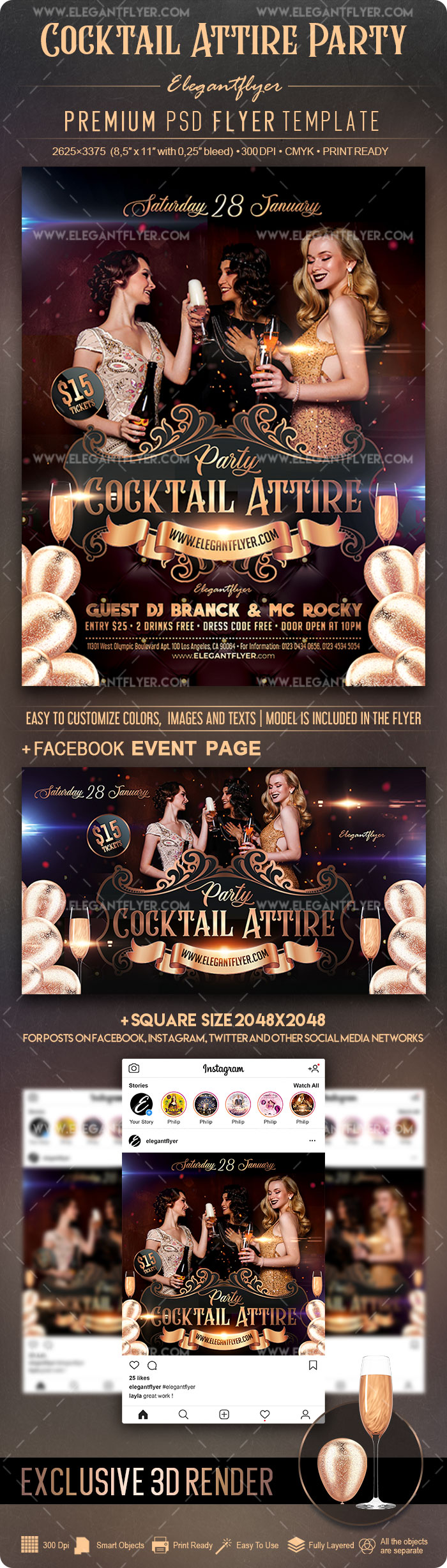 Cocktail Attire Party – Flyer PSD Template