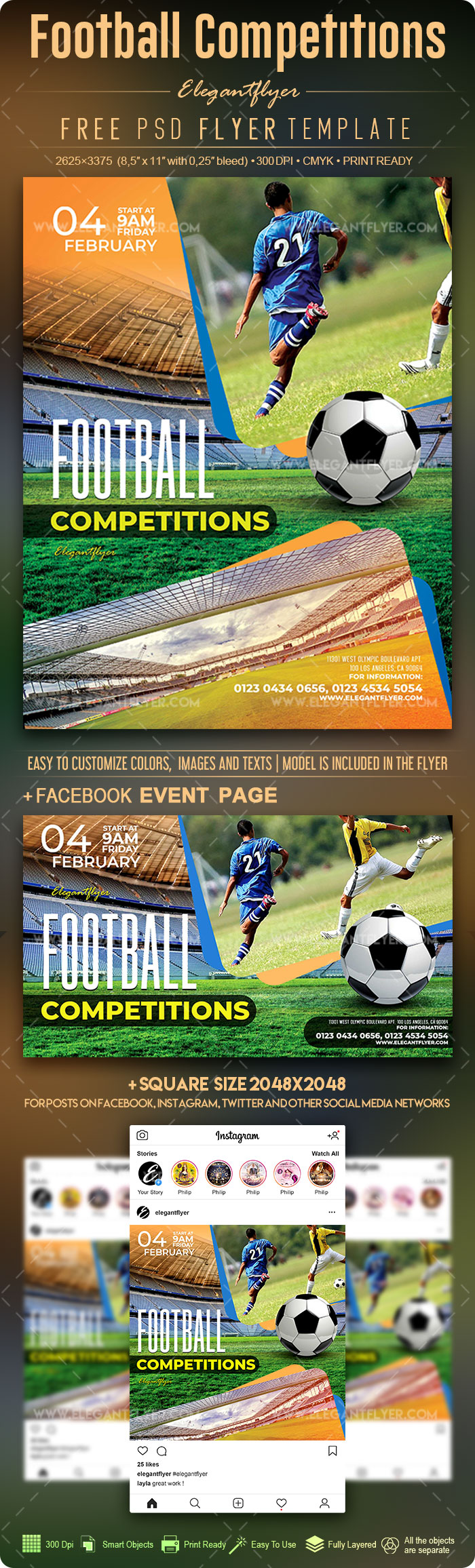 Football Competitions – Free Flyer PSD Template
