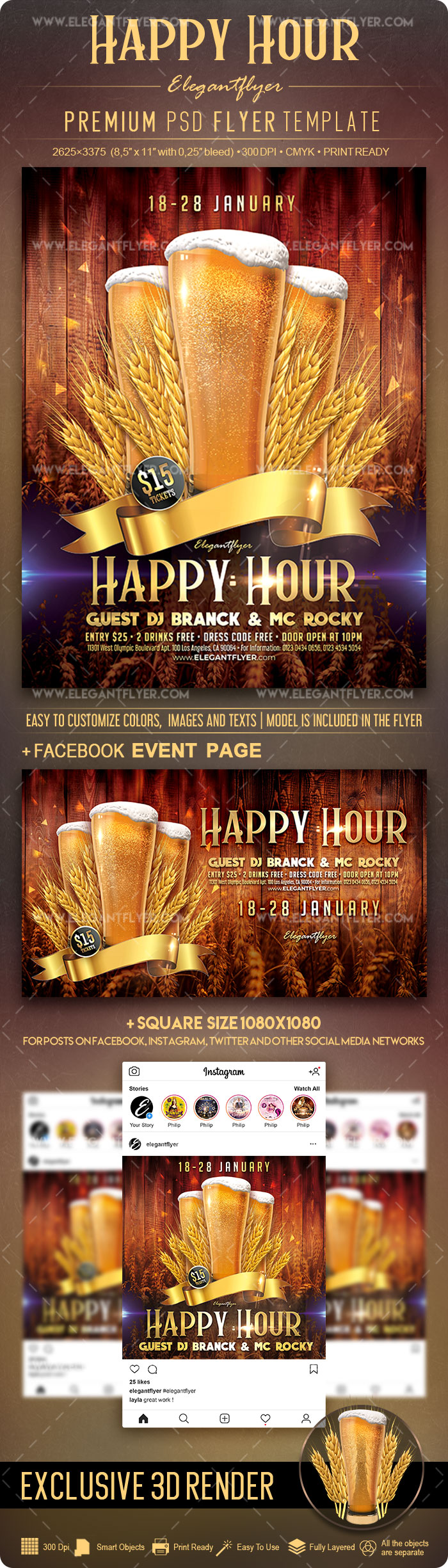 Happy Hour – Flyer PSD Template