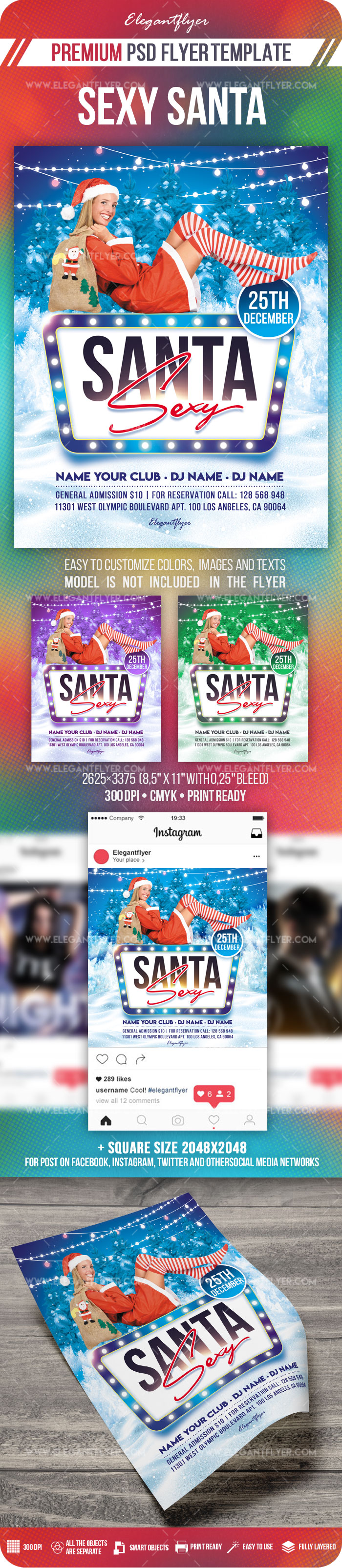 Sexy Santa – Flyer PSD Template + Instagram template