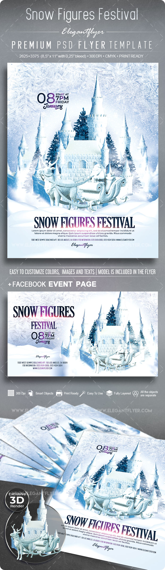 Snow Figures Festival – Flyer PSD Template