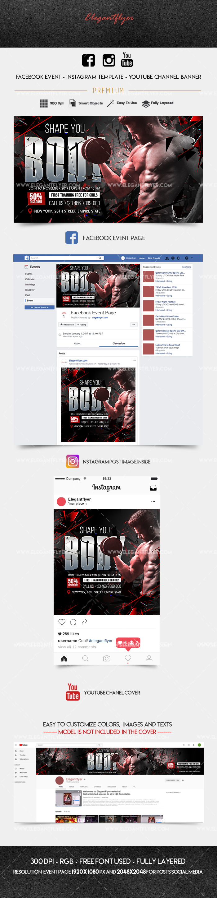 Gym Fitness – Facebook Event + Instagram template + Youtube Channel Banner