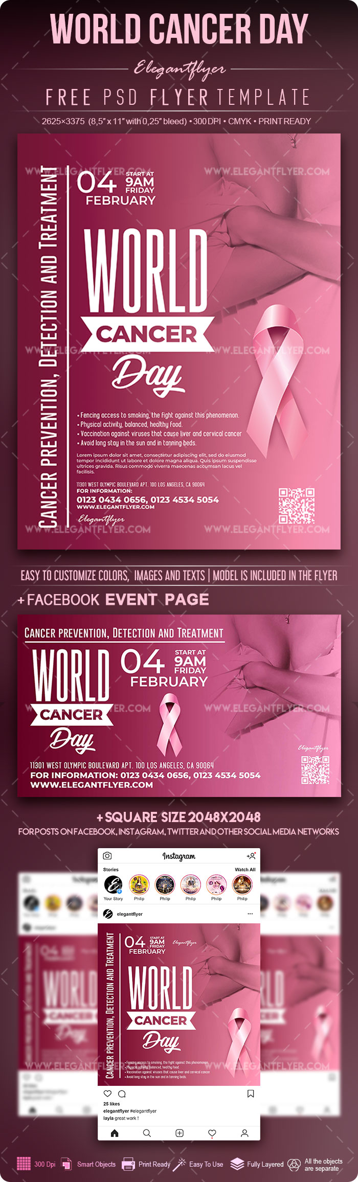 World Cancer Day – Free Flyer PSD Template