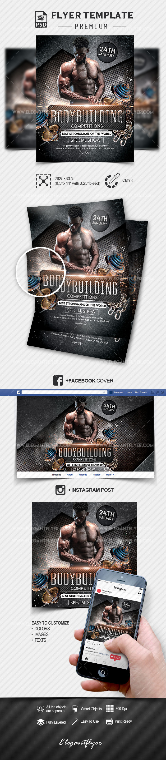 Bodybuilding Competitions – Flyer Template PSD
