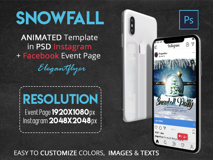 Snowfall – Animated Instagram + Facebook Flyer Template