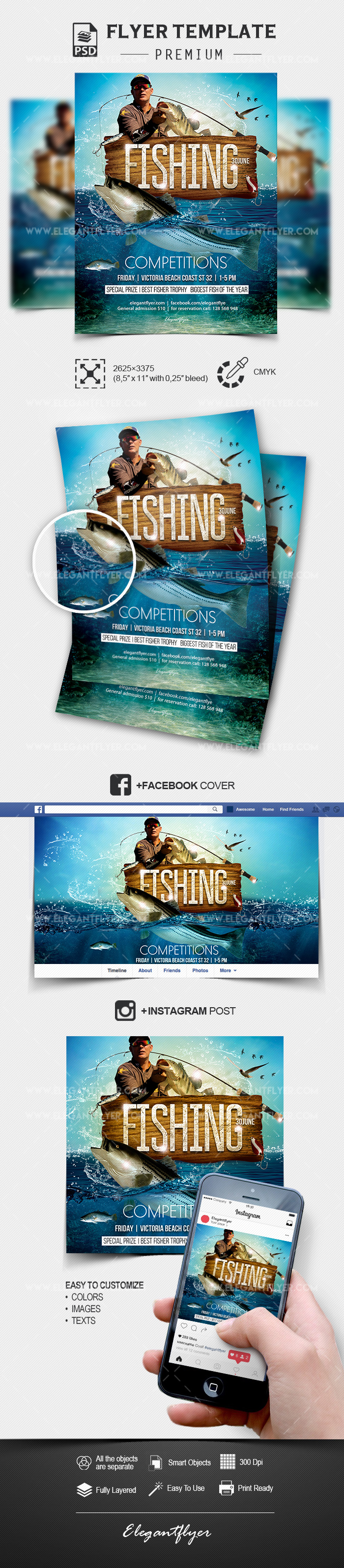 Competitions for fishing – Flyer PSD Template