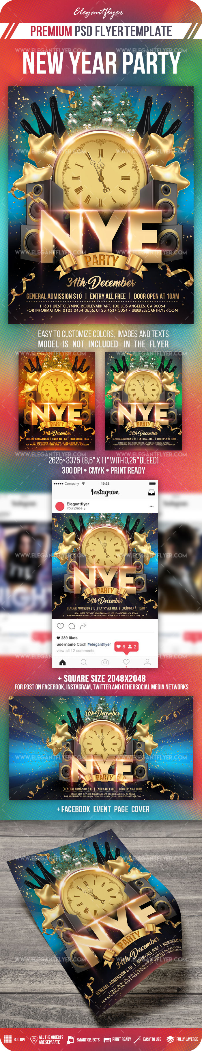 New Year Party – Flyer PSD Template