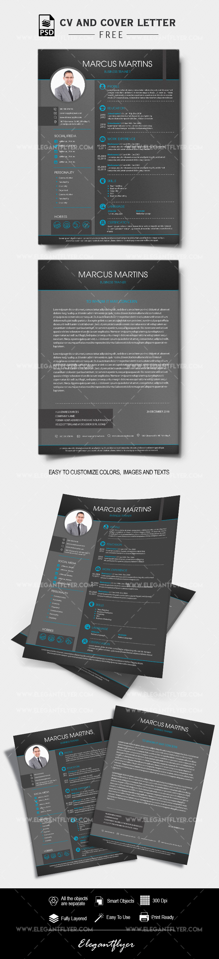 Business CV and Cover Letter PSD Template