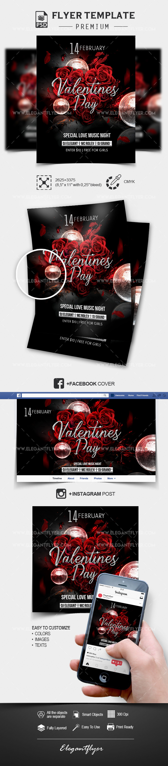 St. Valentine's Day Party – Flyer Template in PSD