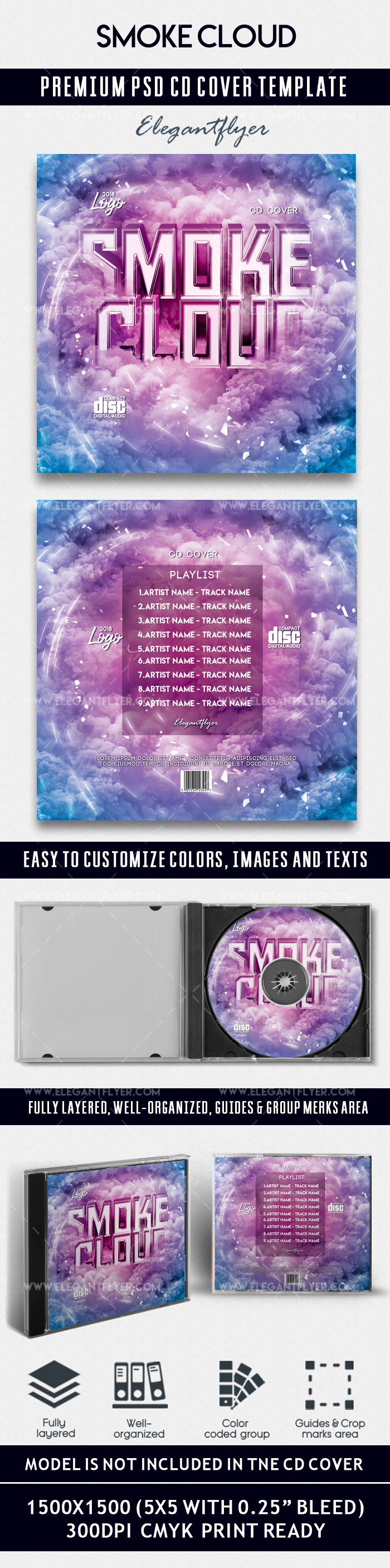 Smoke Cloud – Premium CD Cover PSD Template