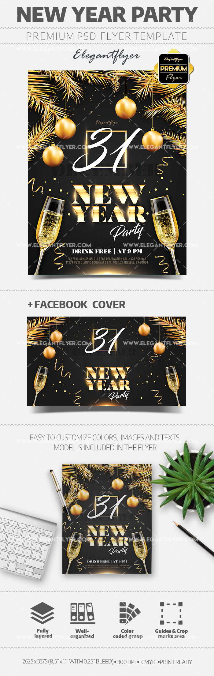 Happy New Year 2020 Flyer in PSD