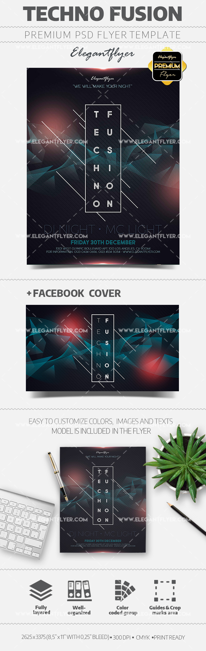 Techno Fusion PSD Flyer Template