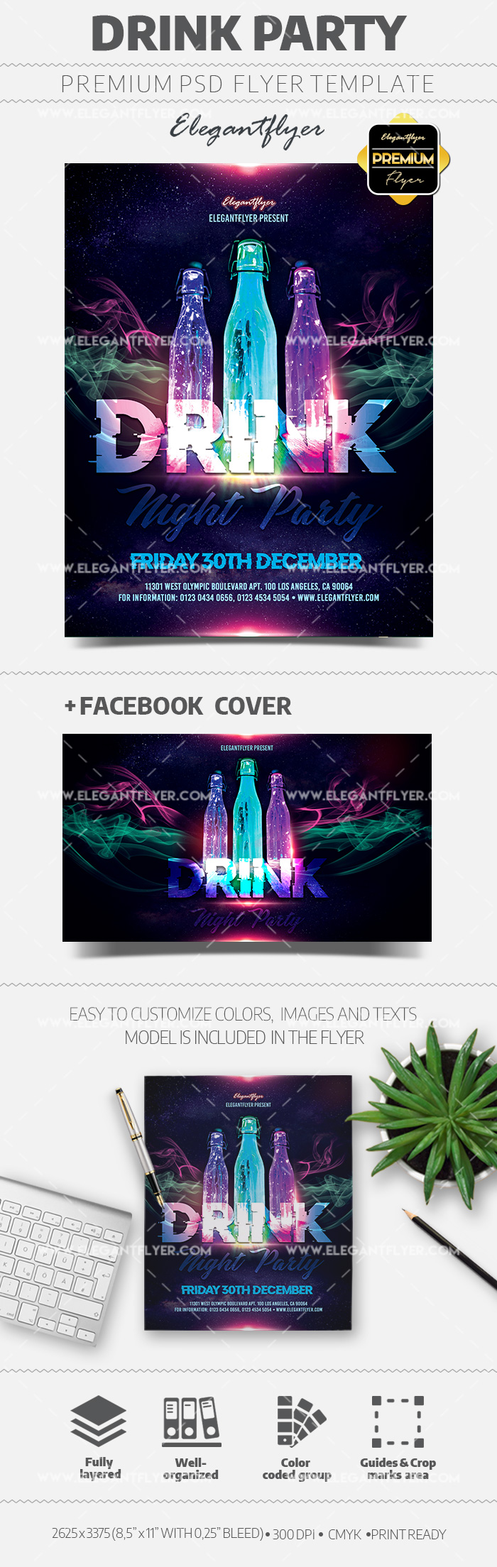 Drink Party Flyer Template in PSD