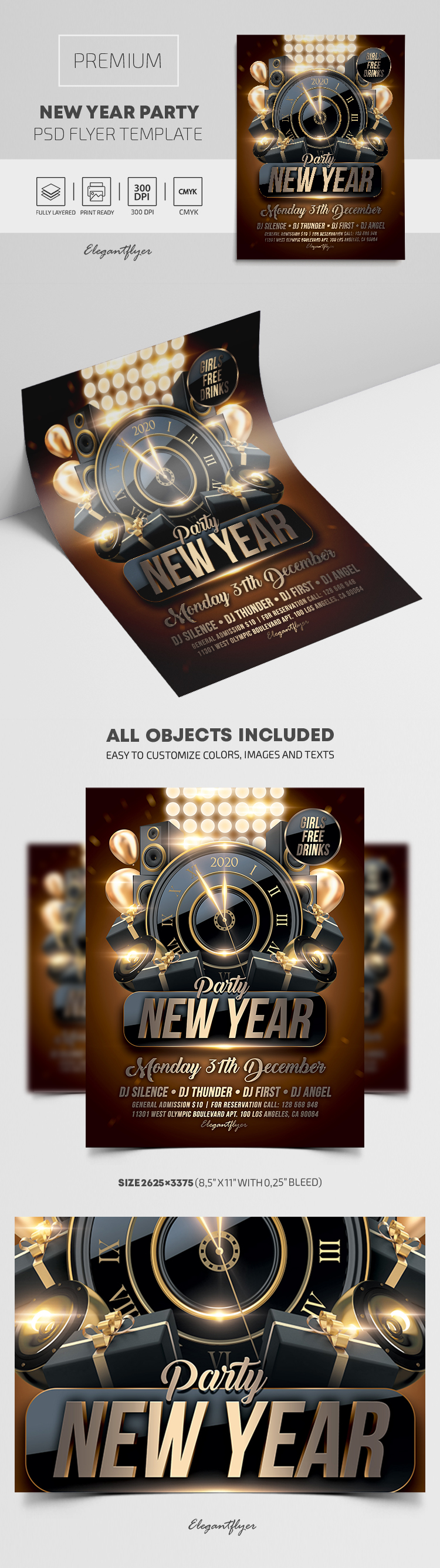New Year Party – Flyer PSD Template + Instagram template