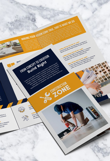 Construction Zone – PSD Tri-fold Brochure Template