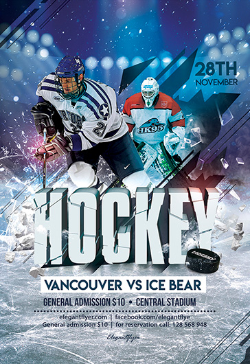 Ice Hockey – Sport PSD Flyer Template