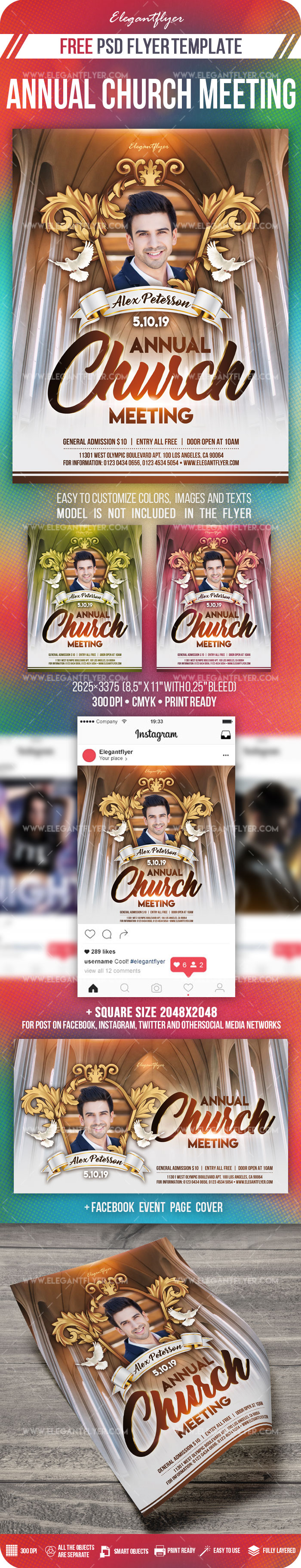 Annual Church Meeting – Free PSD Flyer Template + Facebook Cover + Instagram Post