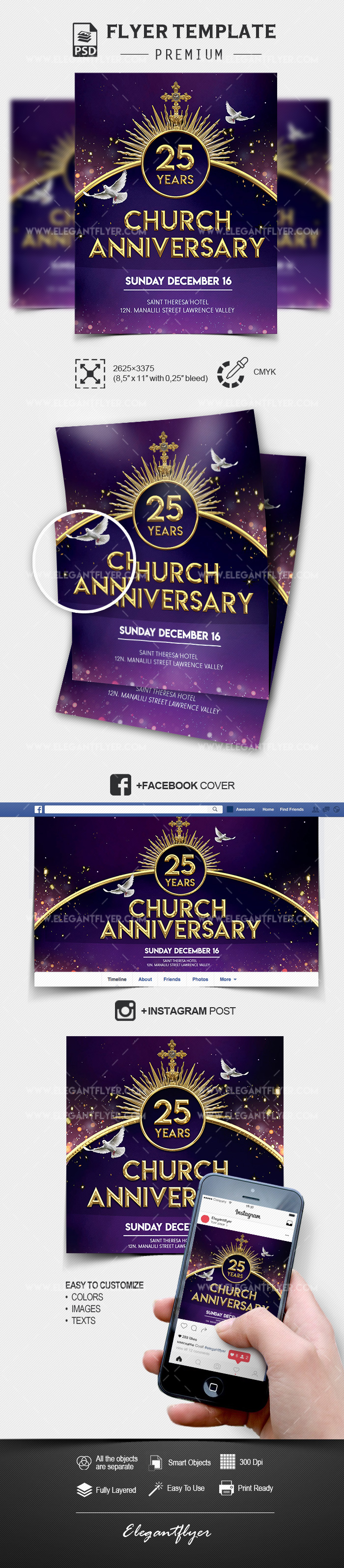 Church Anniversary Flyer PSD Template + Facebook Cover + Instagram Post