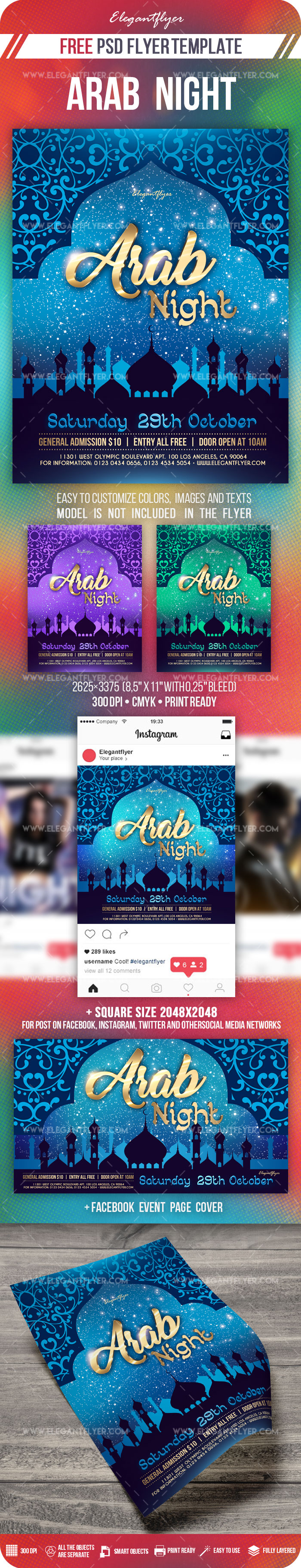 Arab Night – Free PSD Flyer Template + Facebook Cover + Instagram Post