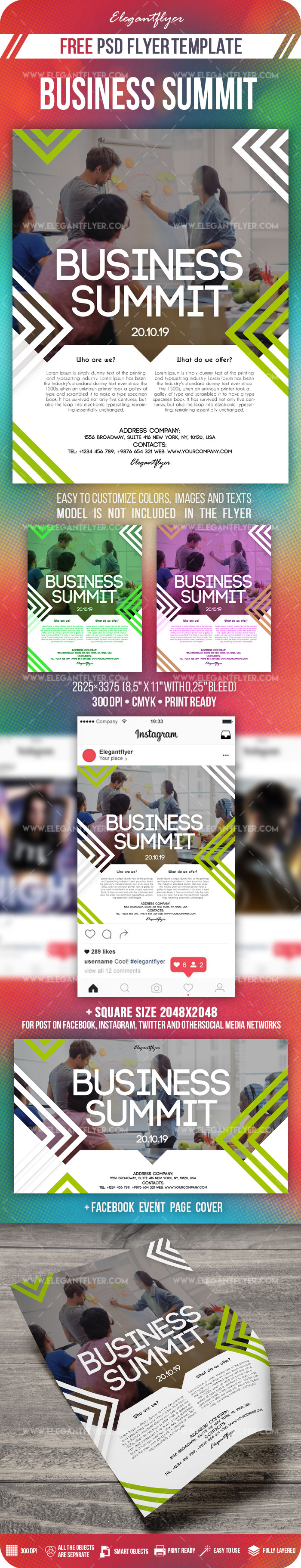 Business Summit – Free PSD Flyer Template + Facebook Cover + Instagram Post