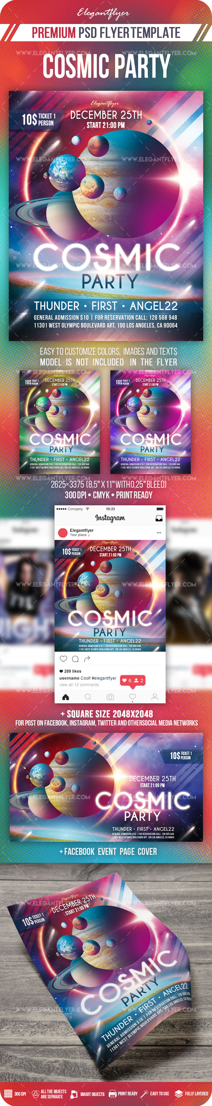 Cosmic Party – PSD Flyer Template + Facebook Cover + Instagram Post
