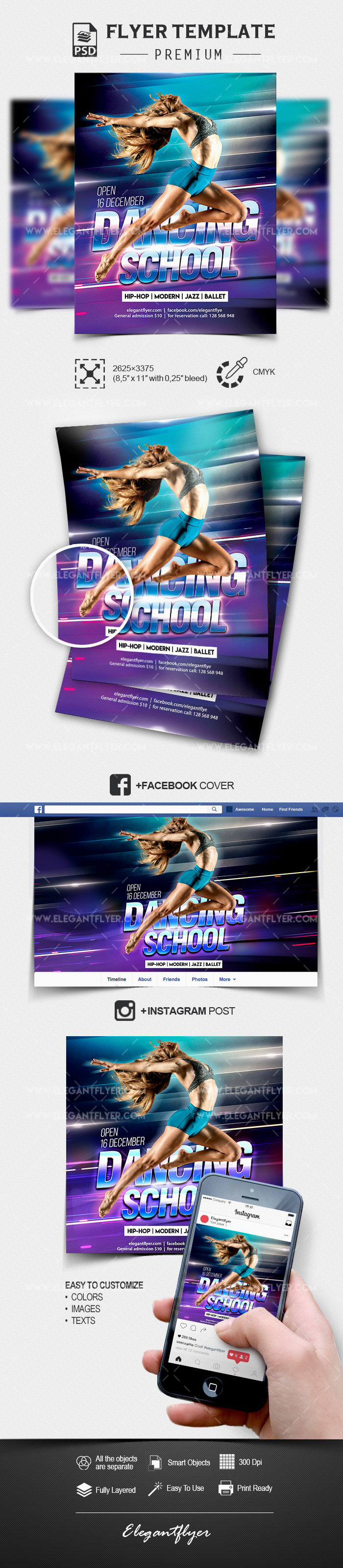 Dancing School – PSD Flyer Template + Facebook Cover + Instagram Post