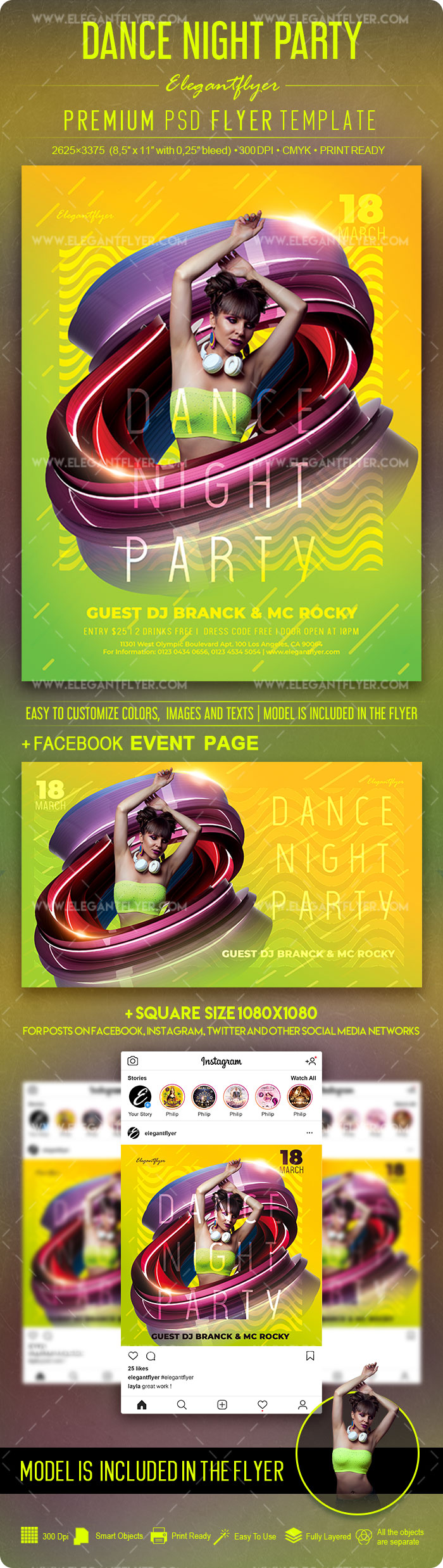 Dance Night Party – PSD Flyer Template + Facebook Cover + Instagram Post