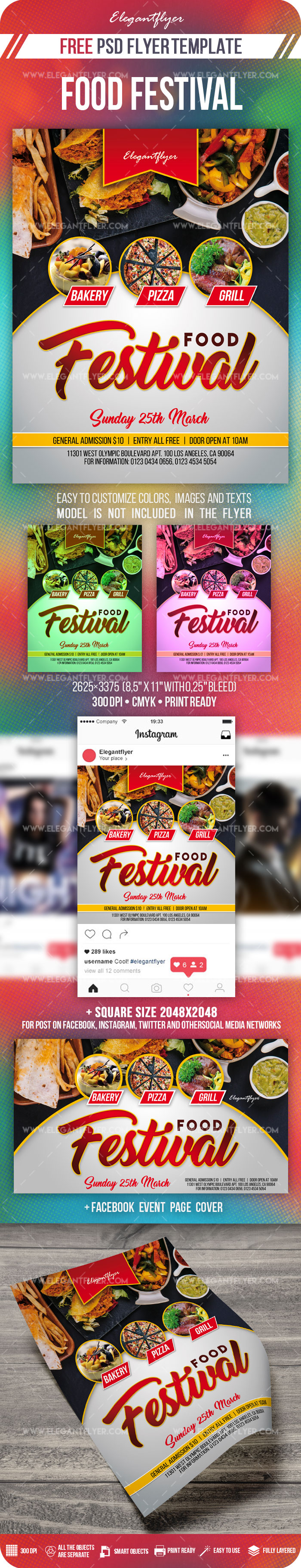 Food Festival – Free PSD Flyer Template + Facebook Cover + Instagram Post