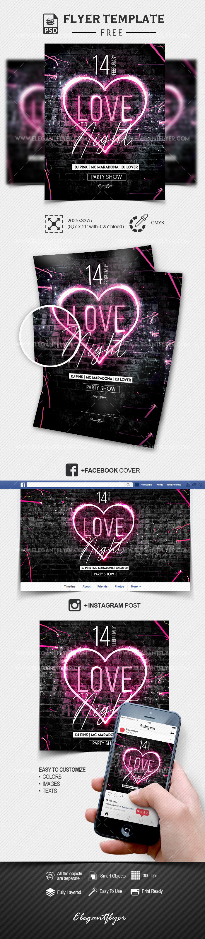 Love Night – Free Flyer Template PSD + Facebook Cover + Instagram Post