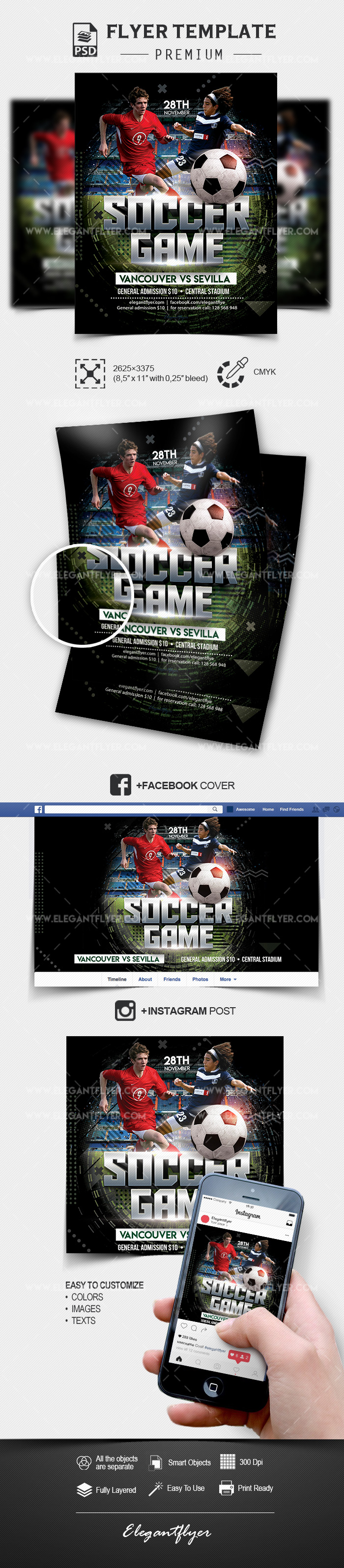 Soccer Game – PSD Flyer Template + Facebook Cover + Instagram Post
