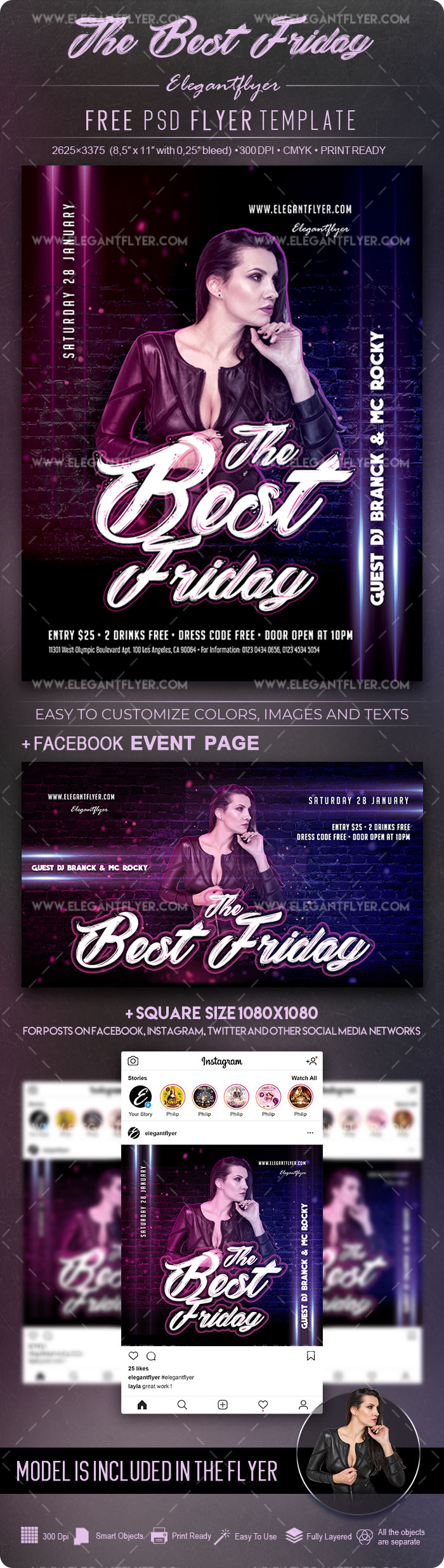 The Best Friday – Free Flyer PSD Template+ Facebook Cover + Instagram Post