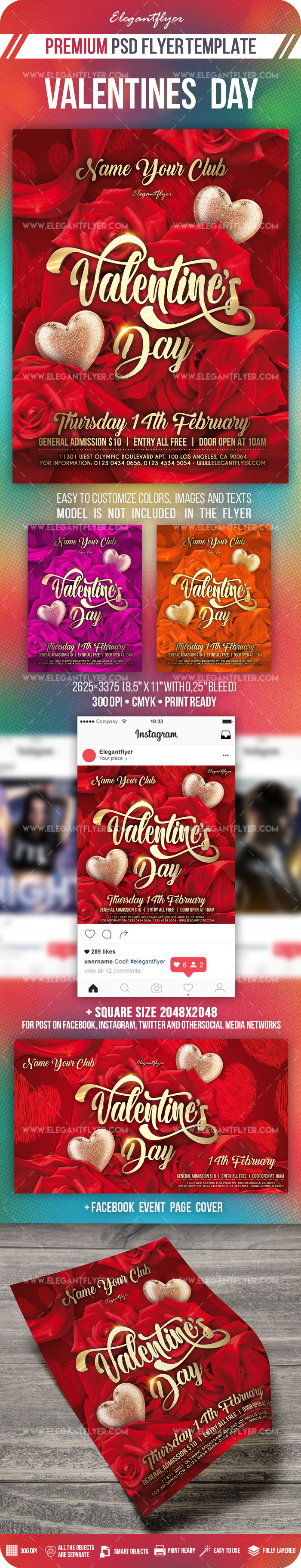 Valentines Day – Flyer Template PSD + Facebook Cover + Instagram Post