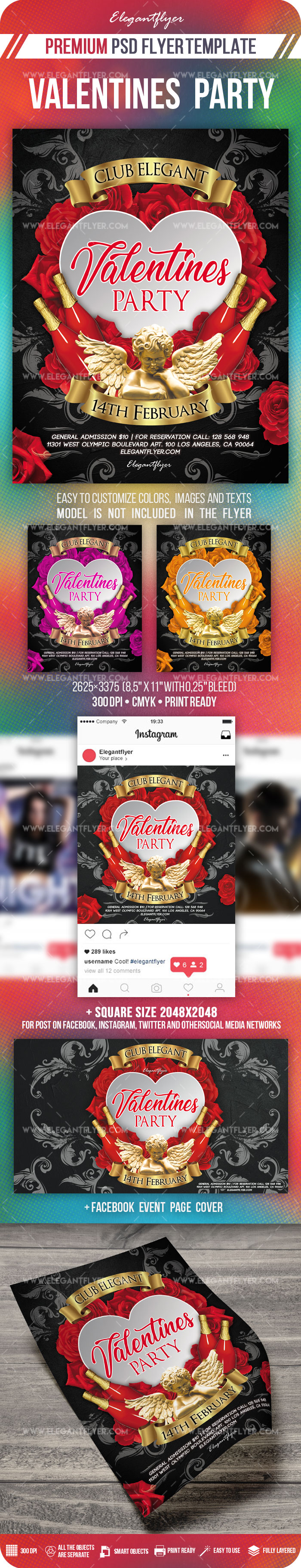 Valentines Party – PSD Flyer Template + Facebook Cover + Instagram Post