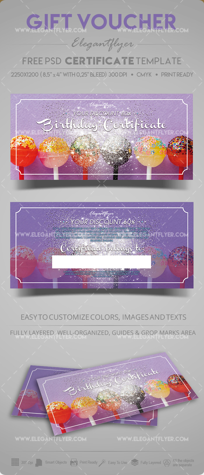 Free Birthday Gift Certificate Template in PSD