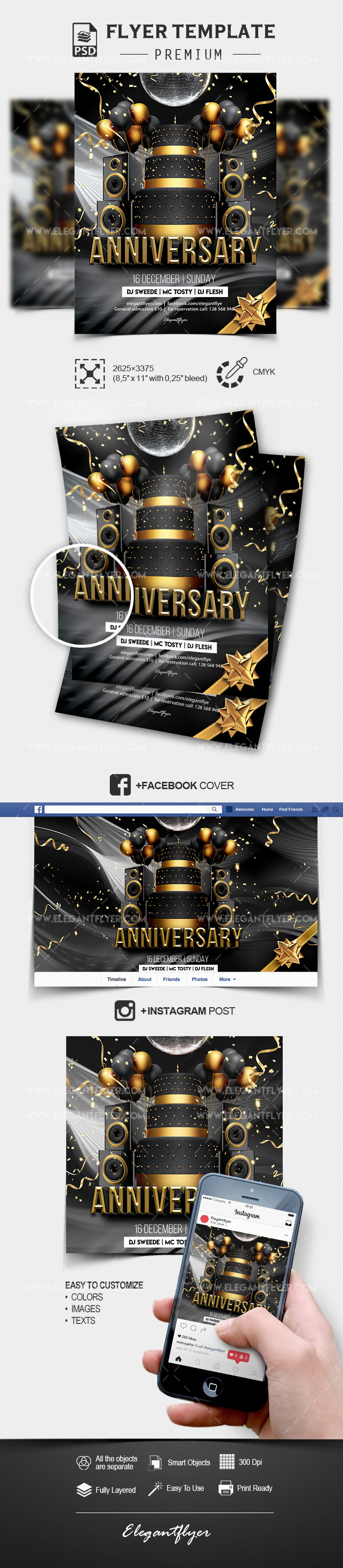 Anniversary Party – PSD Flyer Template + Facebook Cover + Instagram Post