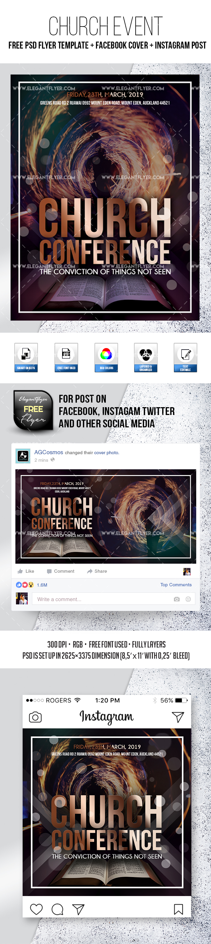 Church Event – Free PSD Flyer Template + Facebook Cover + Instagram Post