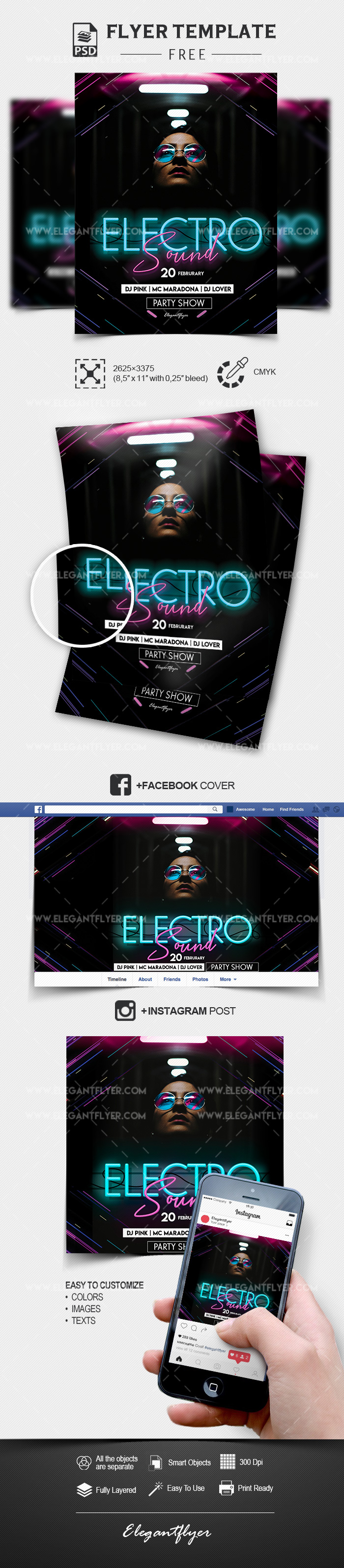 Electro Sound – Free PSD Flyer Template + Facebook Cover + Instagram Post