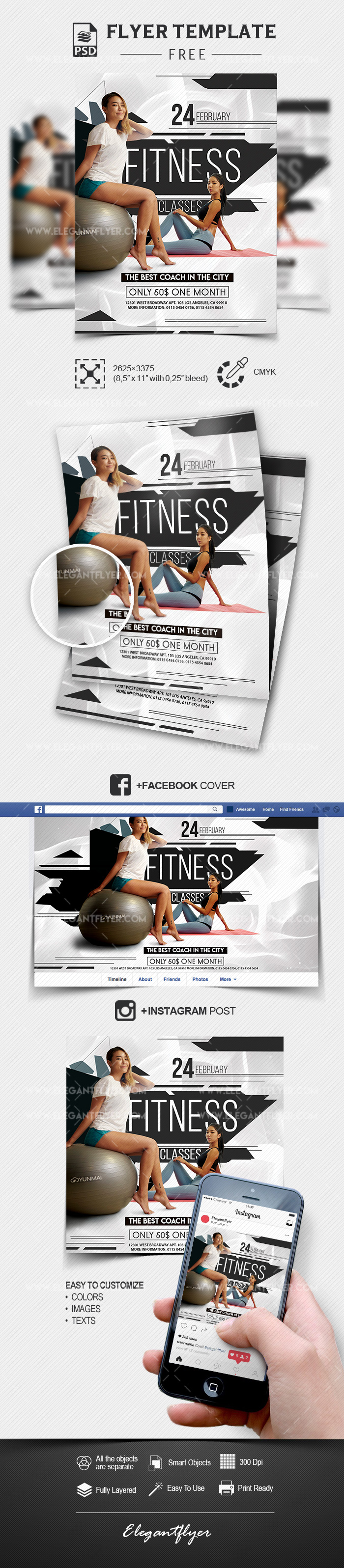 Fitness Classes – Free PSD Flyer Template + Facebook Cover + Instagram Post