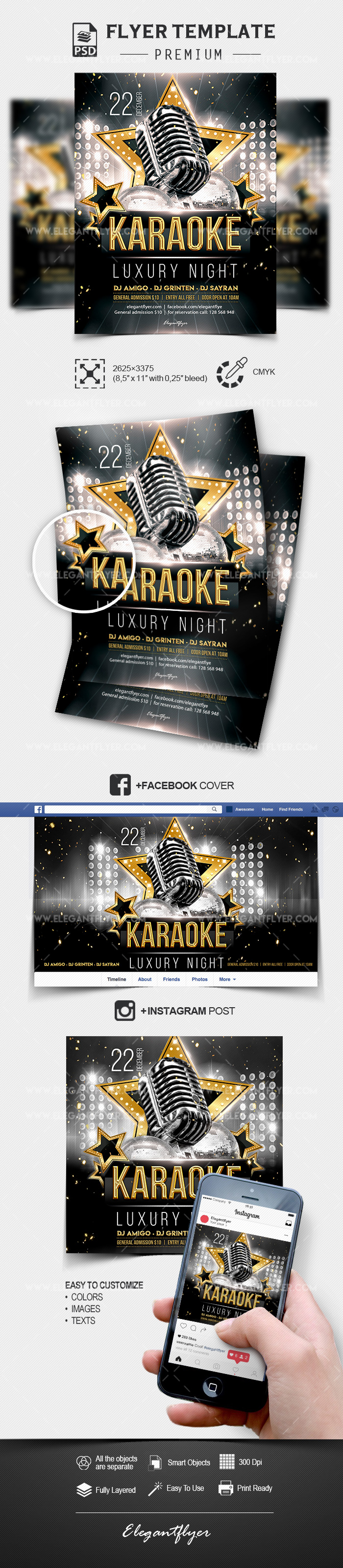 Luxury Karaoke Night – PSD Flyer Template + Facebook Cover + Instagram Post