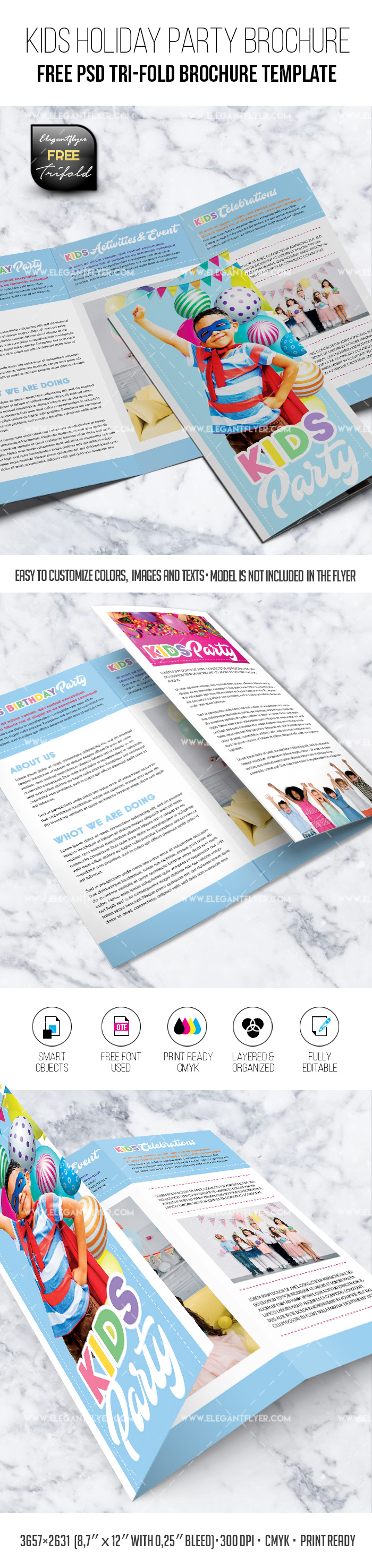 Kids Holiday Party – Free PSD Tri-Fold Brochure Template