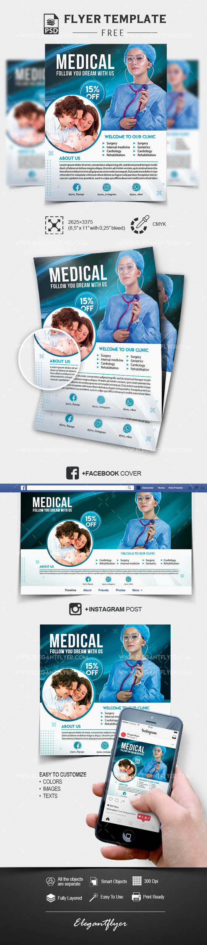 Medical Help - Free PSD Flyer Template + Facebook Cover ...