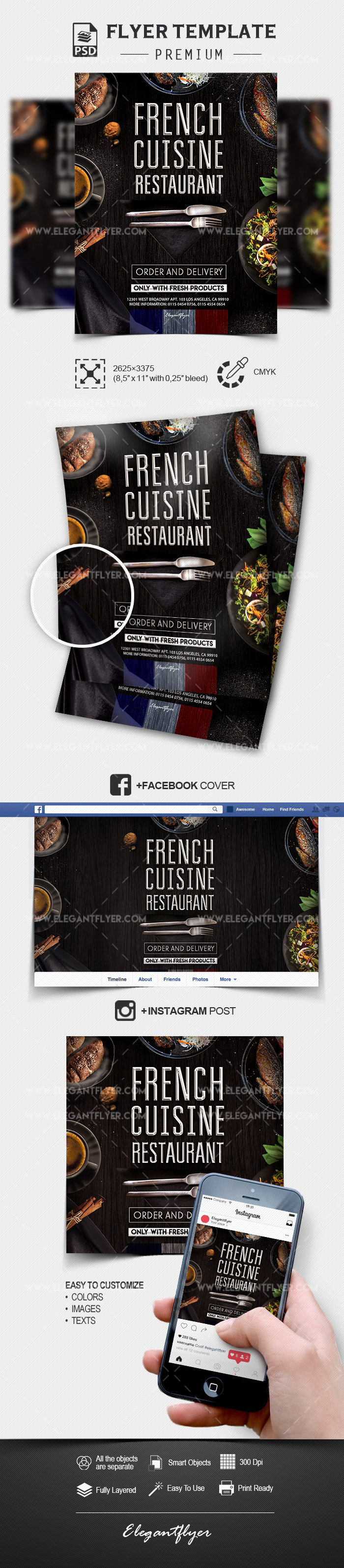 French Cuisine Restaurant – PSD Flyer Template + Facebook Cover + Instagram Post
