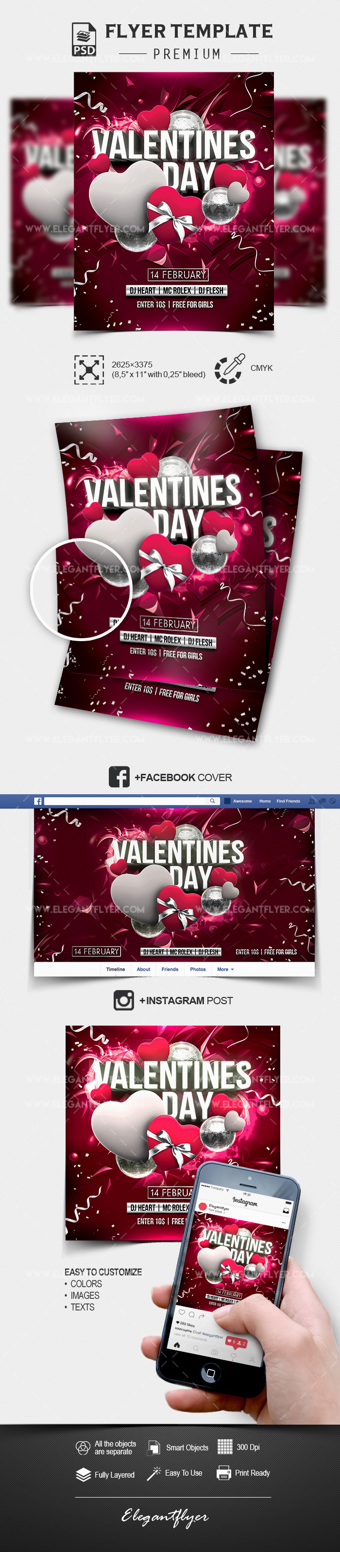 St. Valentine's Day Party – Flyer Template PSD + Facebook Cover + Instagram Post