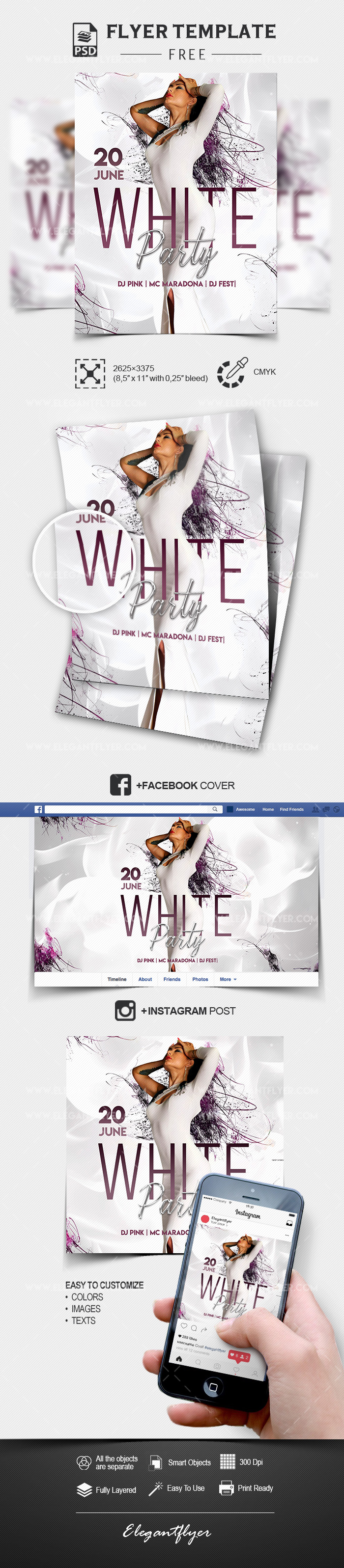 White Party – Free PSD Flyer Template + Facebook Cover + Instagram Post