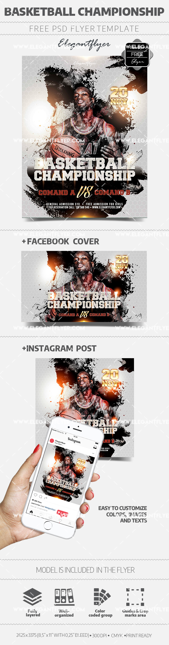 Basketball Championship – Free PSD Flyer Template + Facebook Cover + Instagram Post