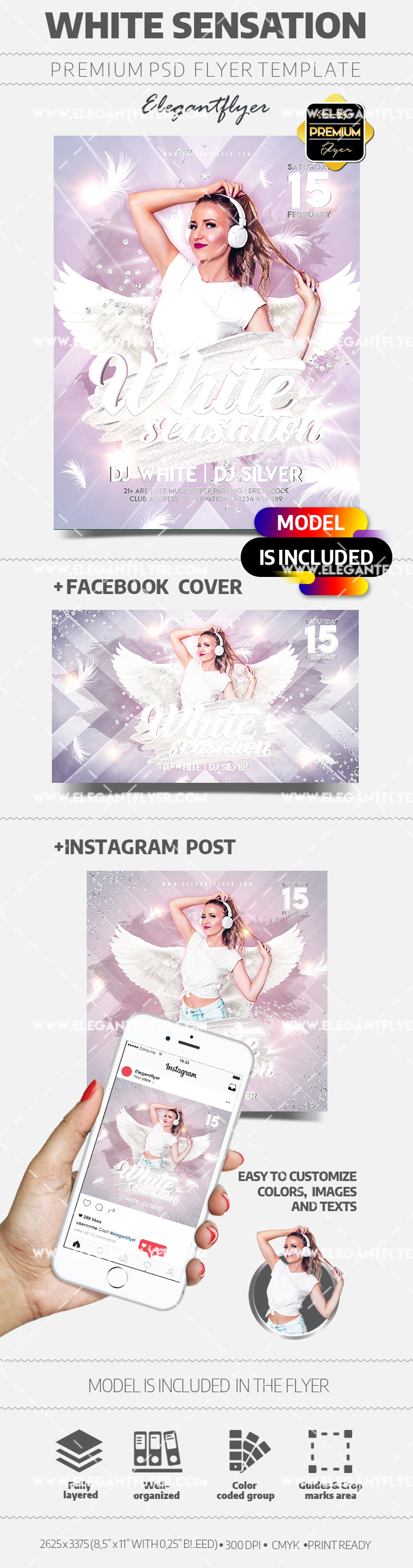 White Sensation Party – PSD Flyer Template + Facebook Cover + Instagram Post
