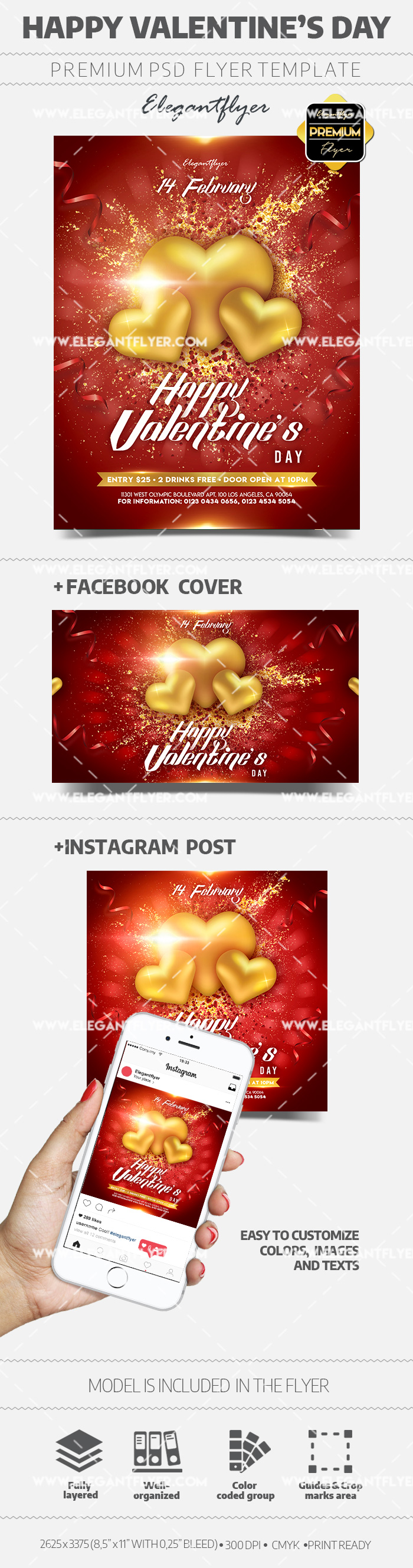 Happy Valentine's Day – PSD Flyer Template + Facebook Cover + Instagram Post