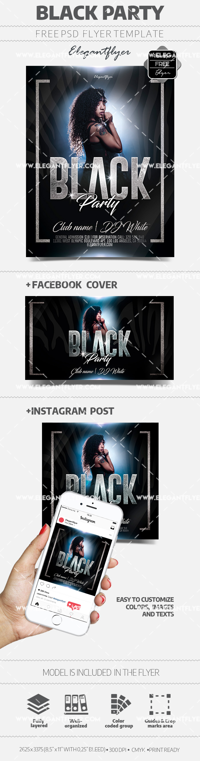 Black Mood – Free PSD Flyer Template + Facebook Cover + Instagram Post