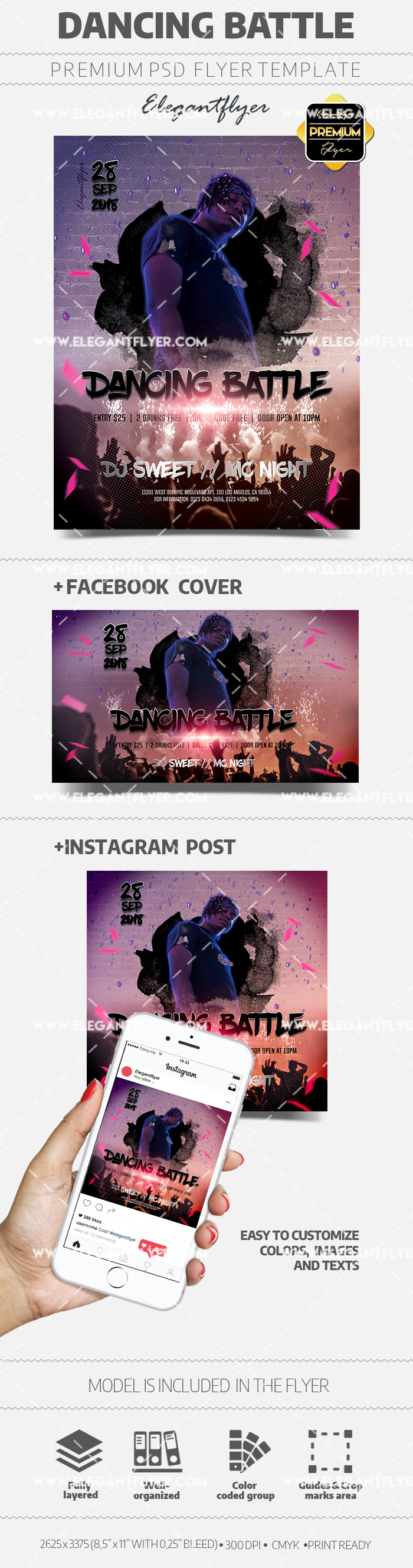 Dancing Battle – PSD Flyer Template + Facebook Cover + Instagram Post